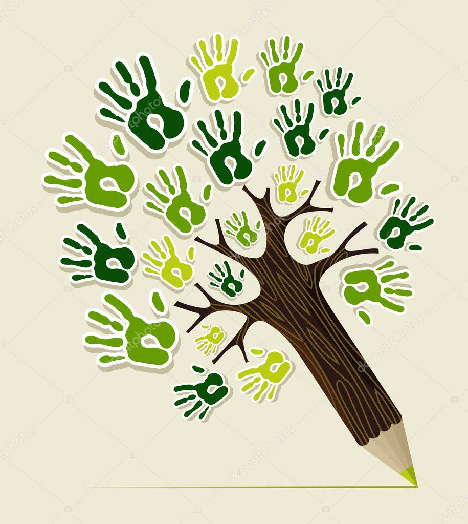 Eco friendly pencil Tree hands
