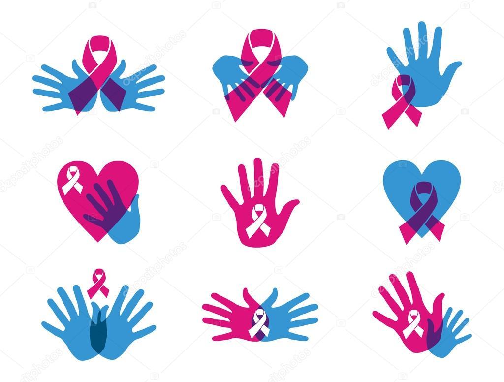 Mama cáncer conciencia cinta conjunto — Archivo Imágenes Vectoriales ...