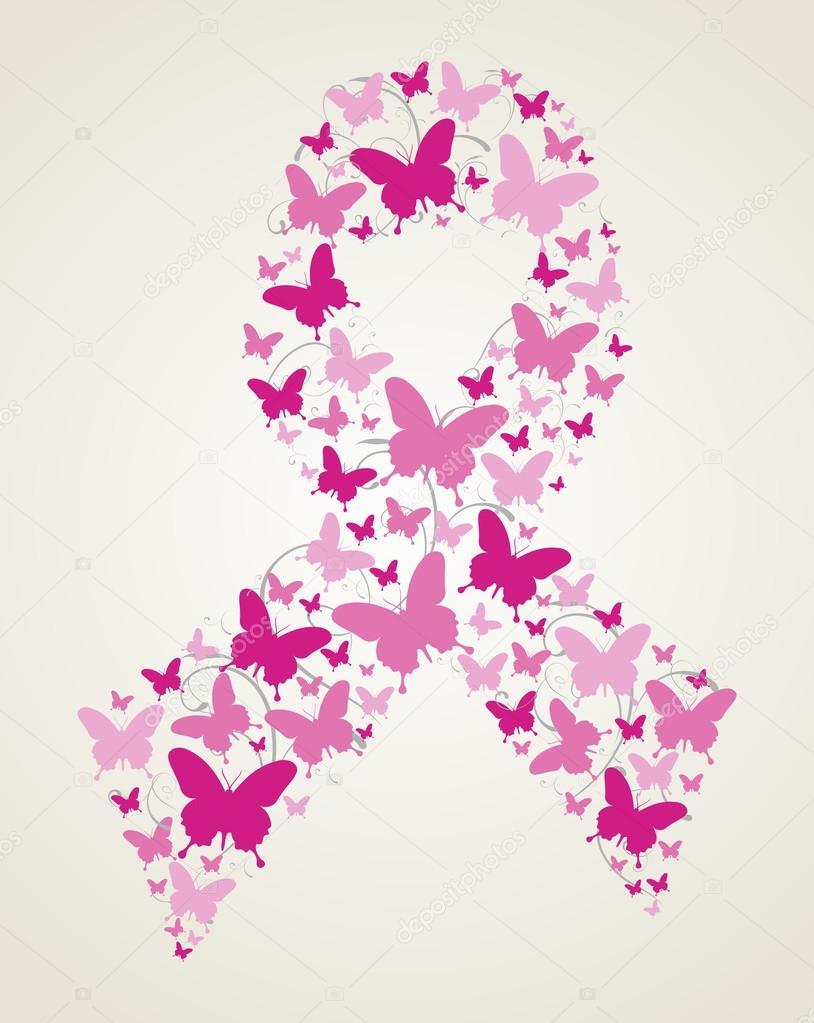 mariposa en cinta concientización del cáncer de mama — Vector de ...