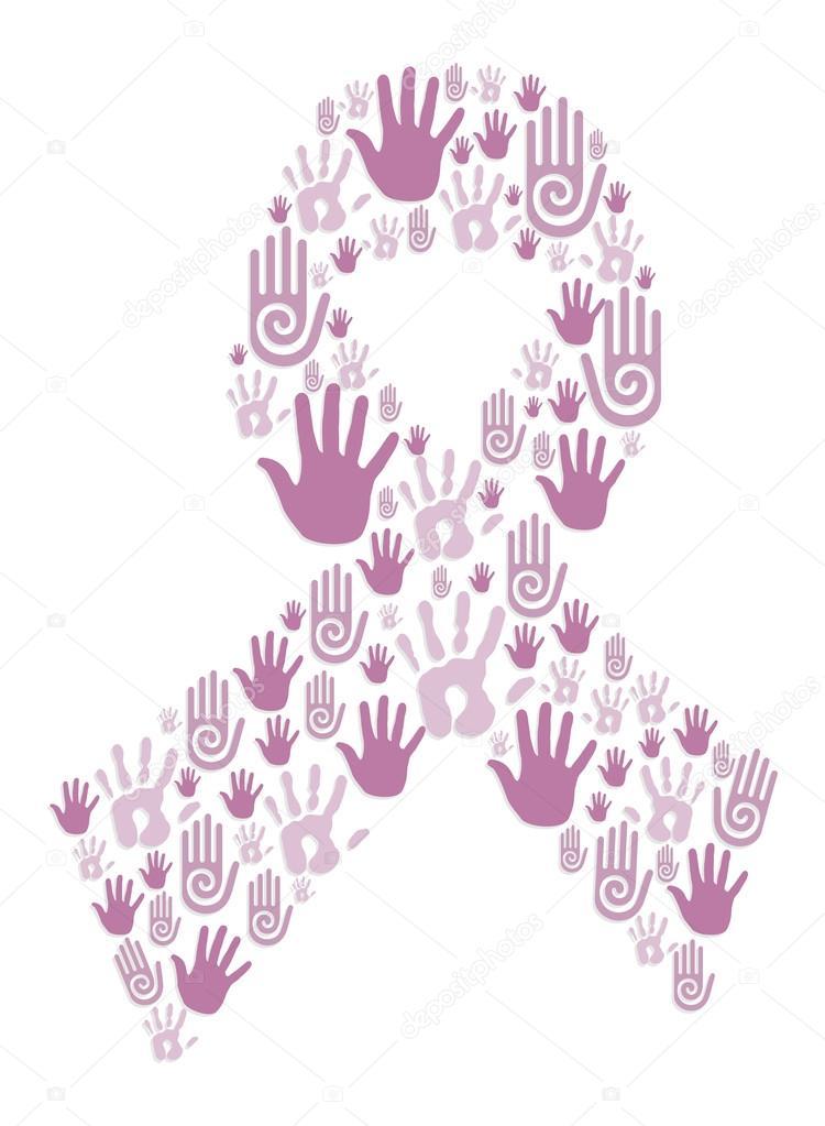 manos en cinta concientización del cáncer de mama — Vector de stock ...
