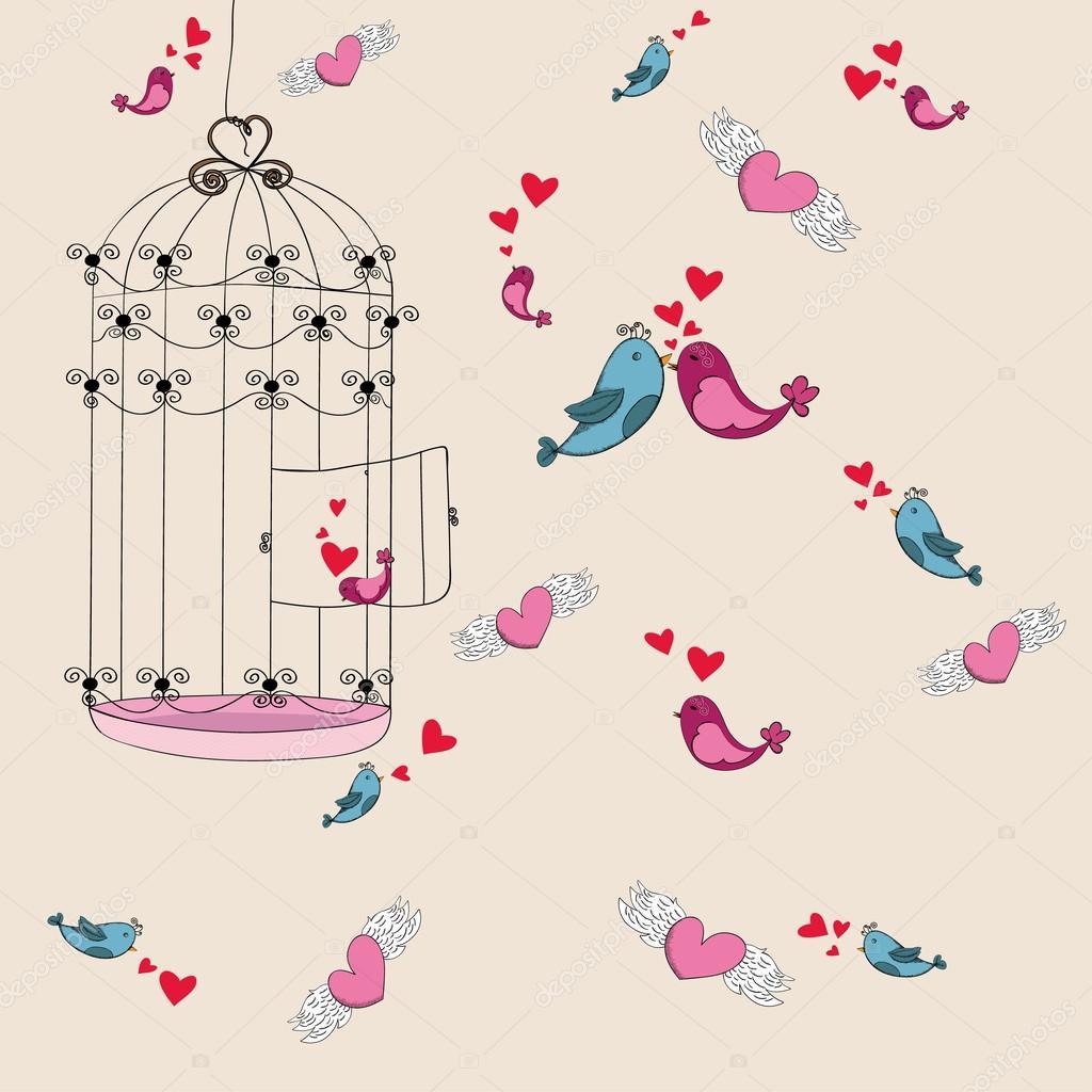 Sevgililer özgürlük Kuş Sevgi Arka Plan Stok Vektör Cienpies