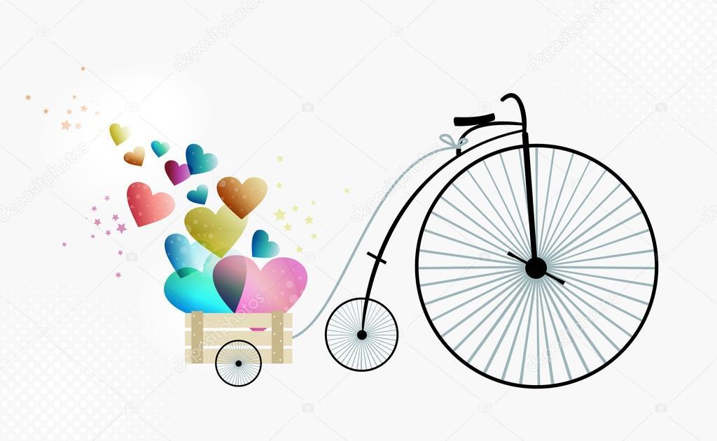 amor toma bicicleta retro — Archivo Imágenes Vectoriales © cienpies ...