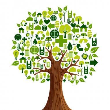 Go Green icons concept tree