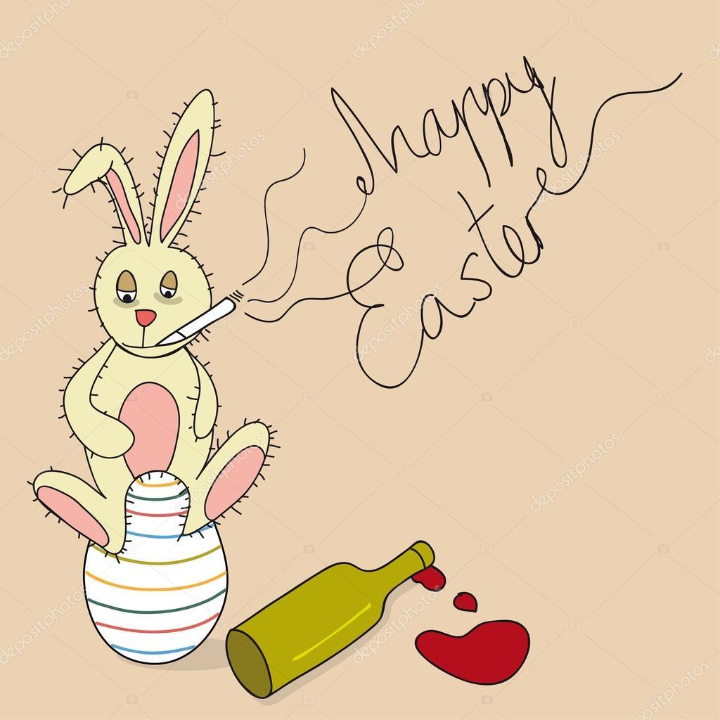 conejo de Pascua feliz humor — Archivo Imágenes Vectoriales ...