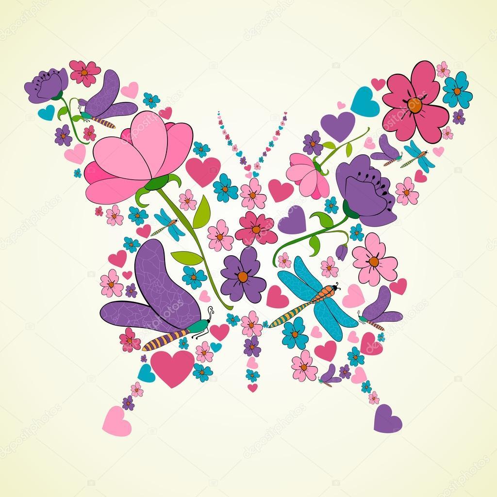 Beautiful spring flowers butterfly shape