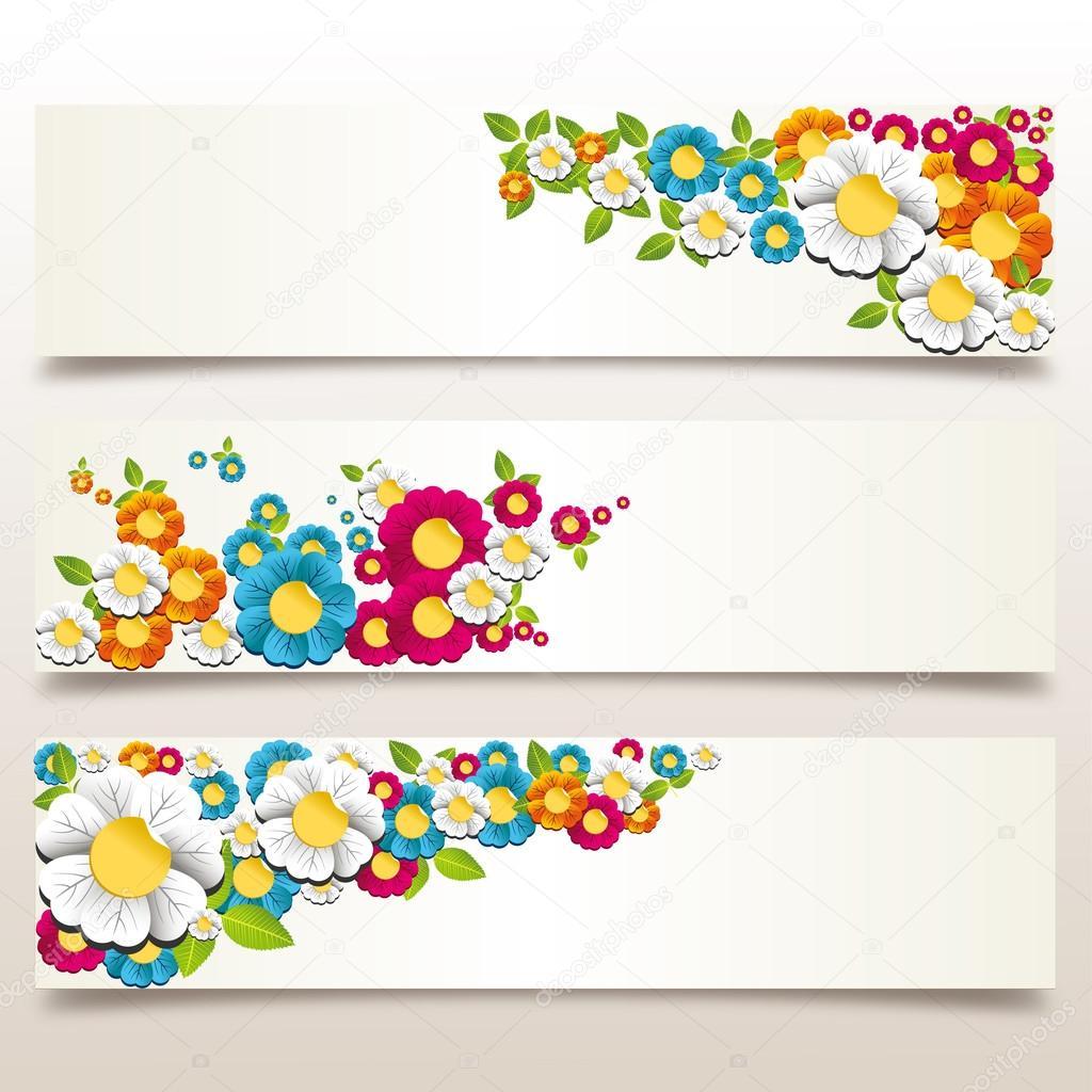 Frühling-Blumen-banner — Stockvektor © cienpies #22945900
