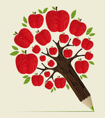 Photo Red apples tree pencil concept