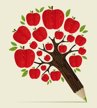 Delicious red apple icon in tree pencil idea. Vector illustration layered for easy manipulation and custom coloring. clip art vector