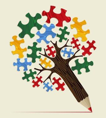 Jigsaw strategic concept pencil tree