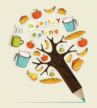 Healthy food concept pencil tree