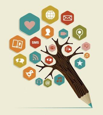 Social media flat icon concept tree