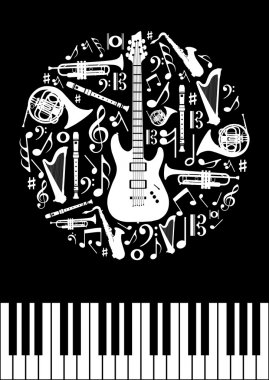 Music concept circle shape with instrument silhouettes in black background. Vector illustration layered for easy manipulation and custom coloring. stock vector