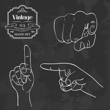 Vintage chalkboard finger pointing