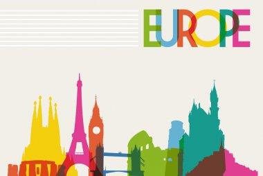 Skyline monument silhouette of Europe