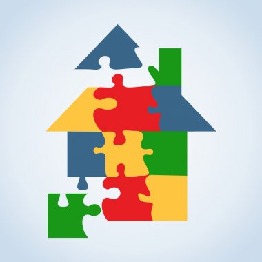 Real estate icon set jigaw shape