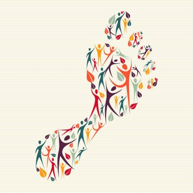 Embrace diversity concept foot print