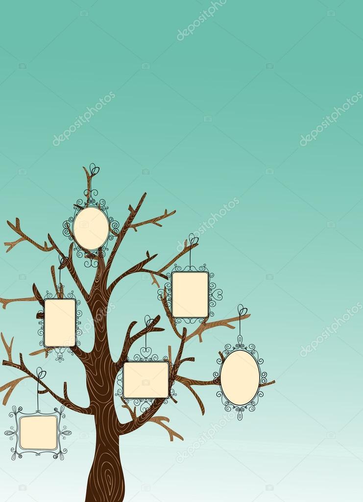 árbol de marcos de foto Vintage — Vector de stock © cienpies #27640253