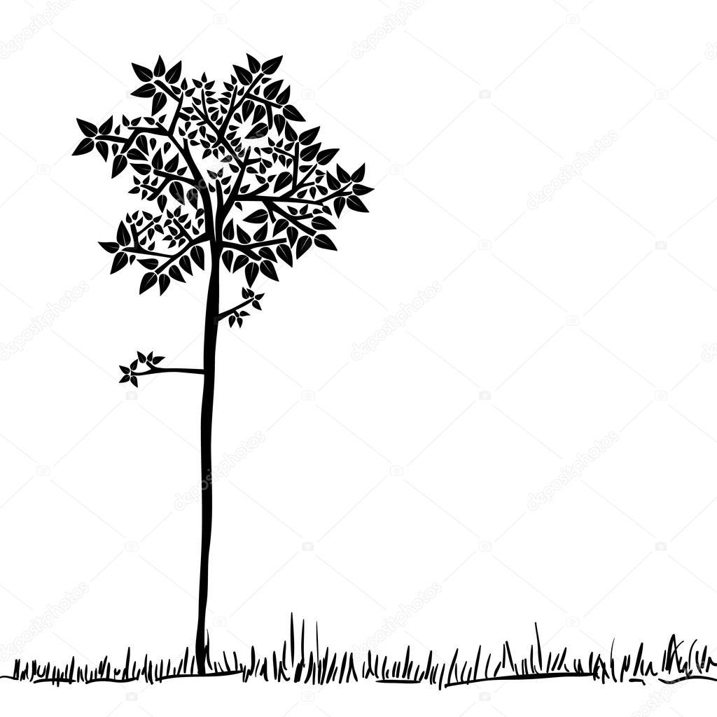 Cute tree silhouette