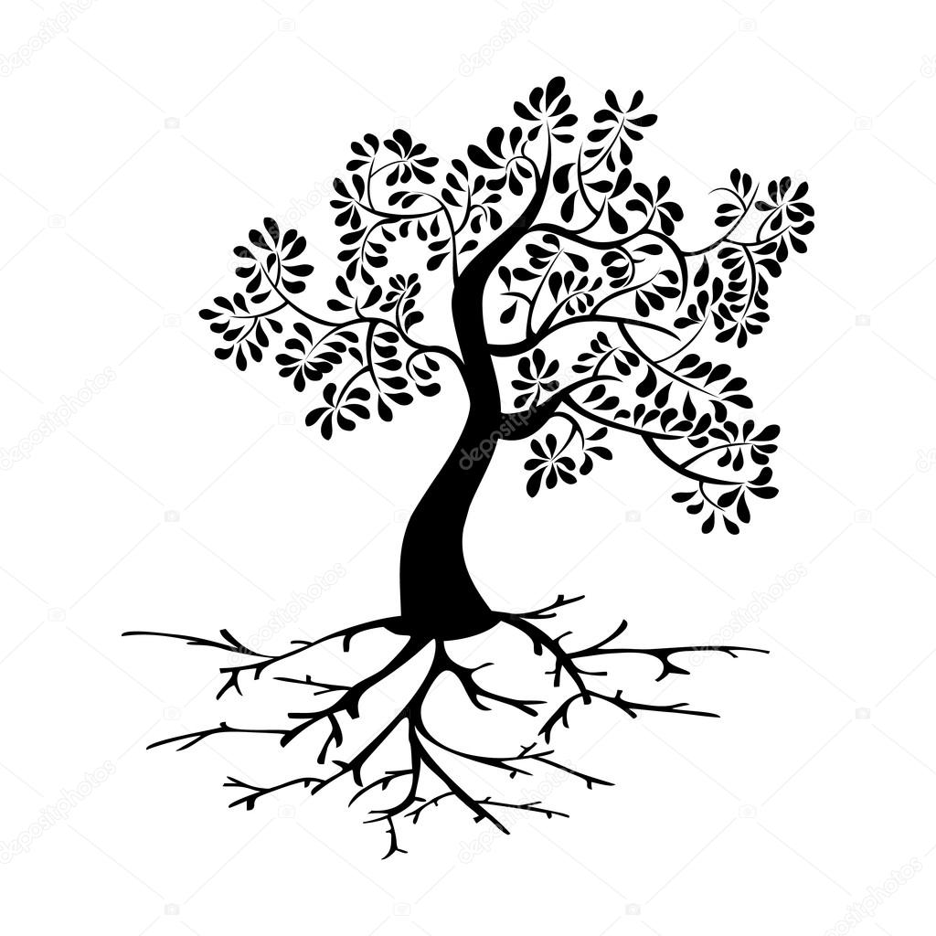 Black tree with roots silhouette