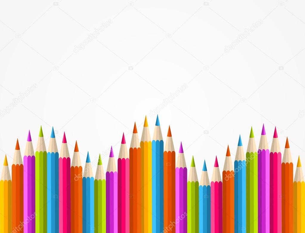 Colorful rainbow pencil pattern
