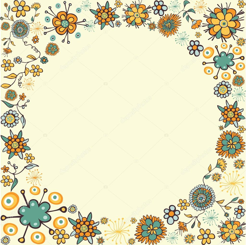 Spring vintage flower circle card background — Stock ...