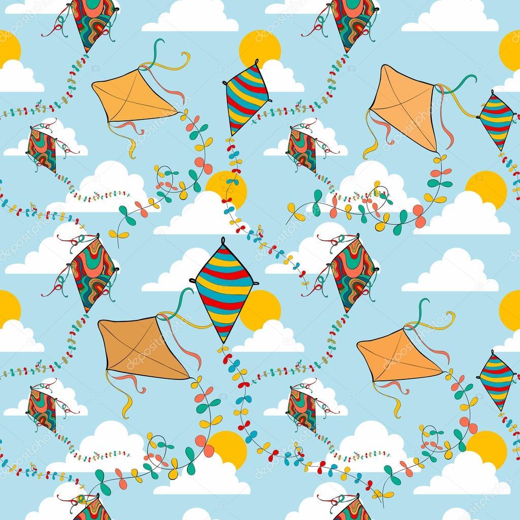 Flying kites seamless pattern
