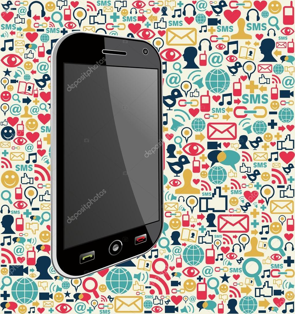 phone social media icon background