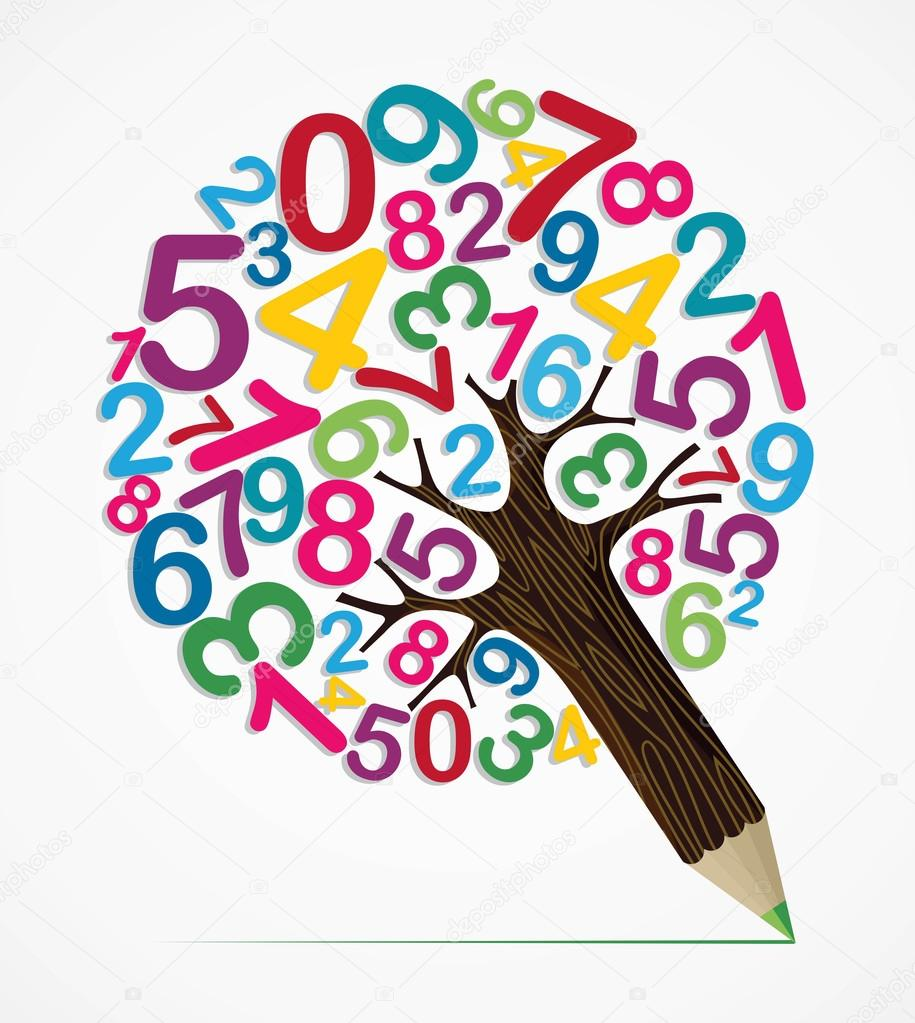 Number variety concept pencil tree