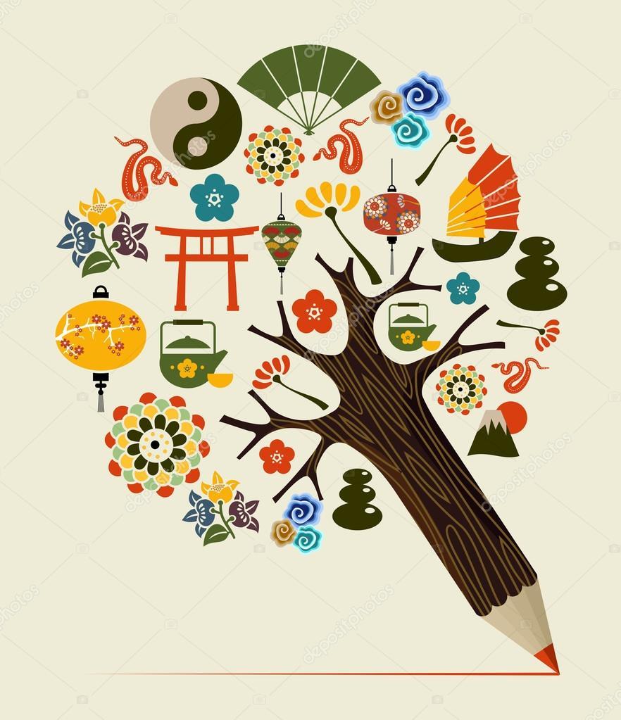 China tradition concept pencil tree