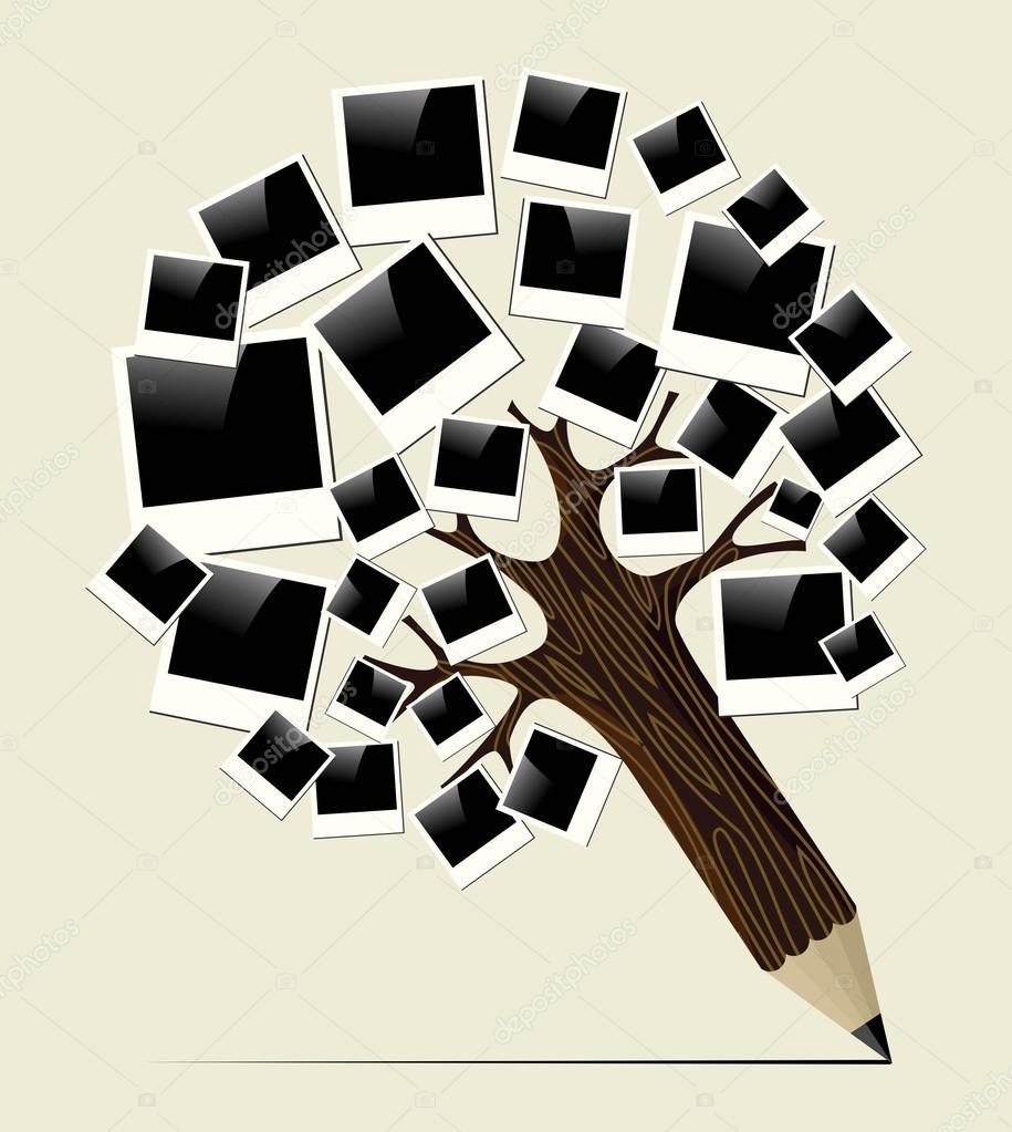 Retro instant photo concept pencil tree