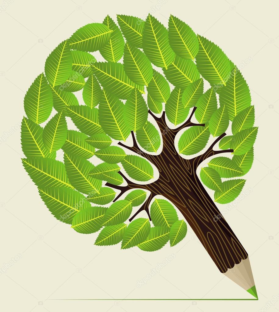 Leaves concept pencil tree — Stock Vector © cienpies #27641751