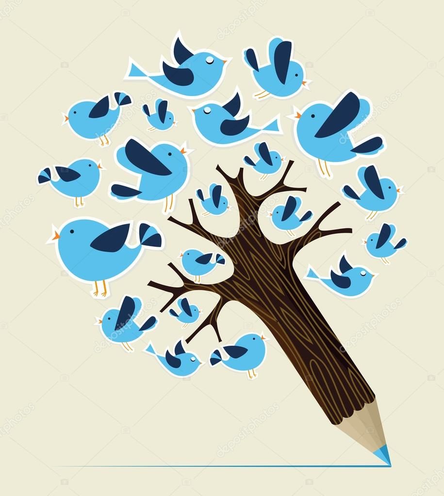 Communication birds concept pencil tree