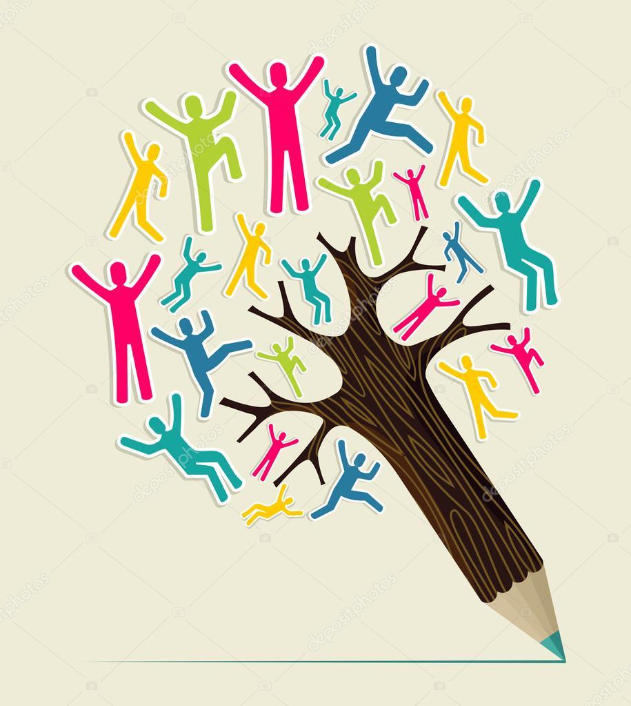 Diversity concept pencil tree