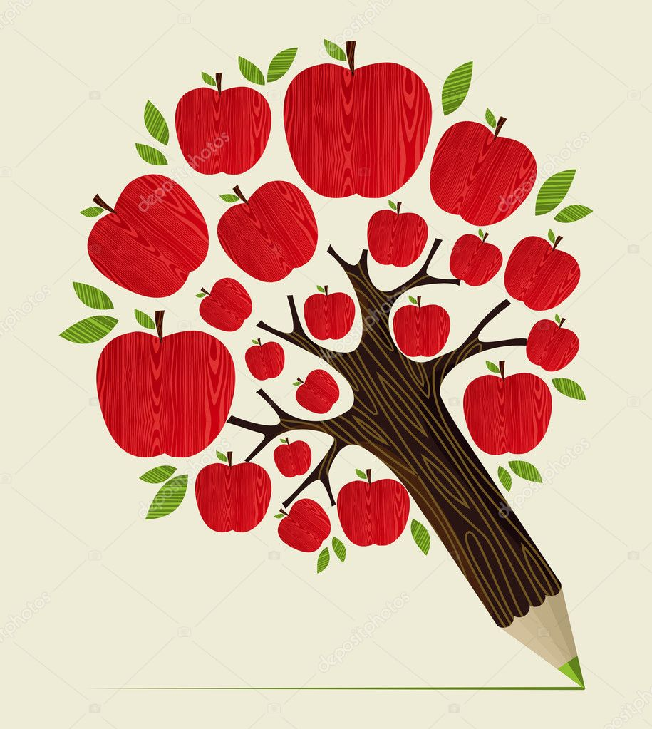 Red apples tree pencil concept