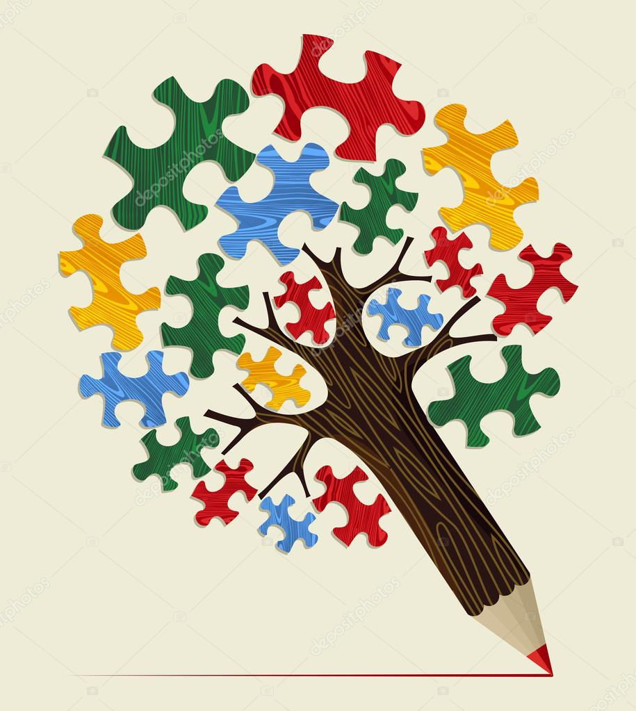 Jigsaw strategic concept pencil tree