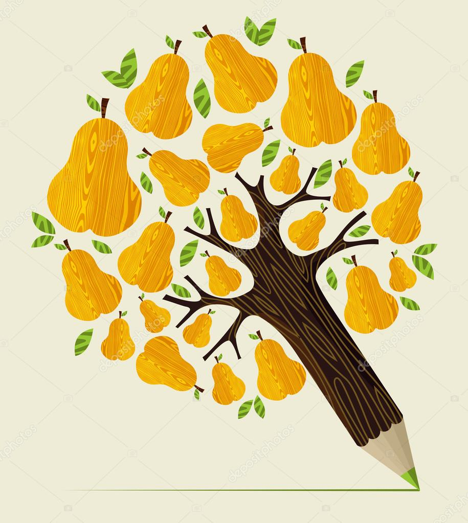 Healthy fruit concept tree