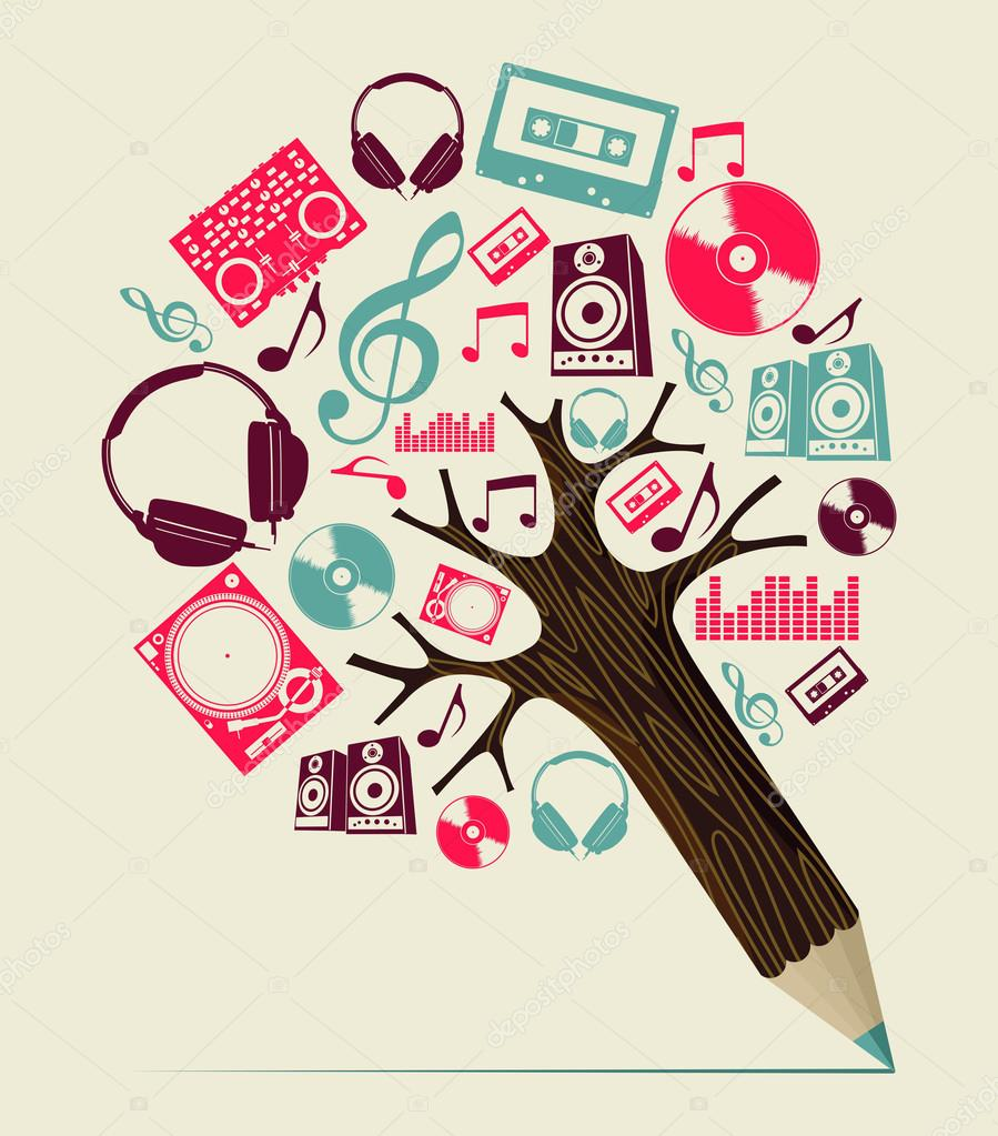 Dj music concept pencil tree