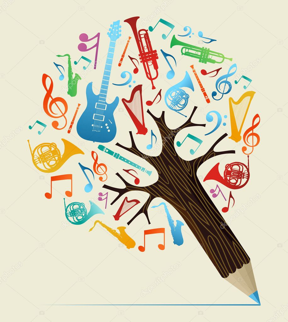 Musical studies concept pencil tree
