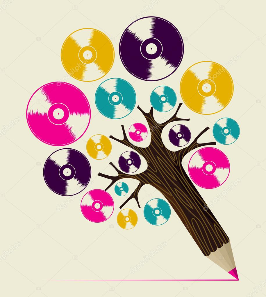 Retro music concept art tree