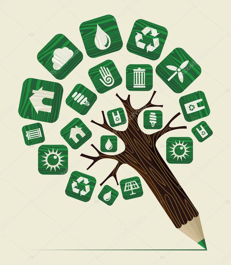 Green world concept pencil tree