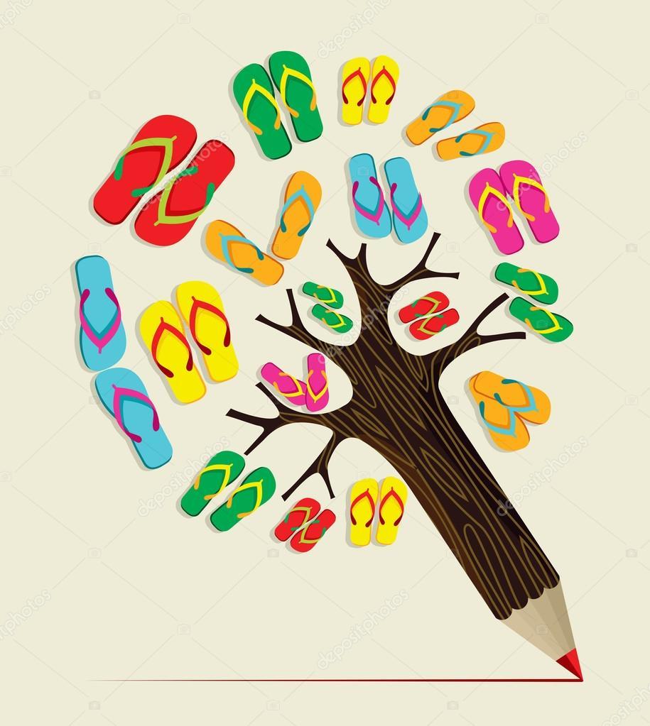 Summer tree pencil concept
