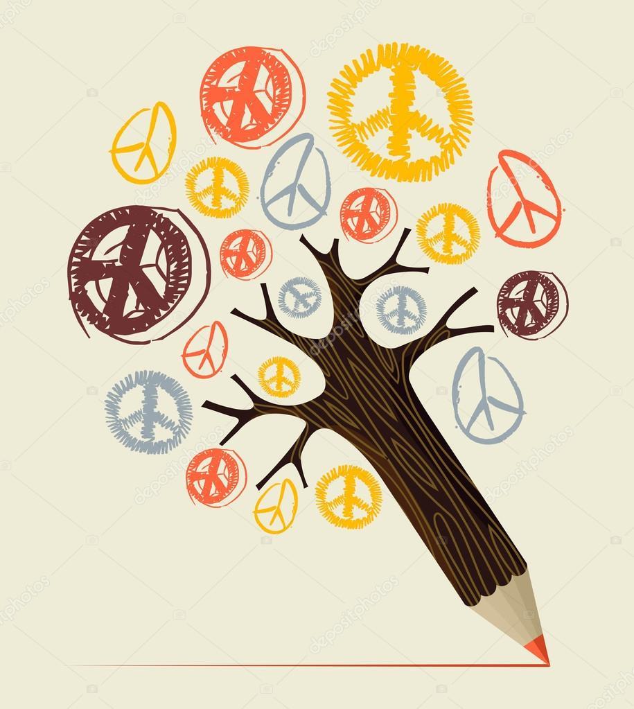 Peace icon tree pencil concept