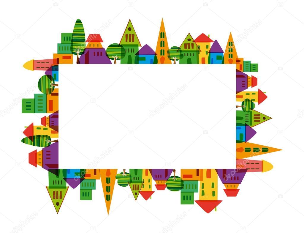 marco colorida ciudad — Archivo Imágenes Vectoriales © cienpies ...