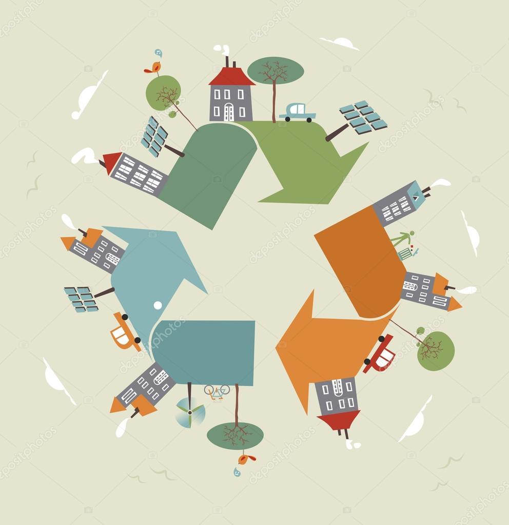 esboço de símbolo do mundo reciclar vetor de stock cienpies