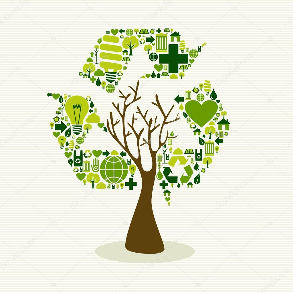 árvore de conceito de símbolo verde reciclar vetores de stock