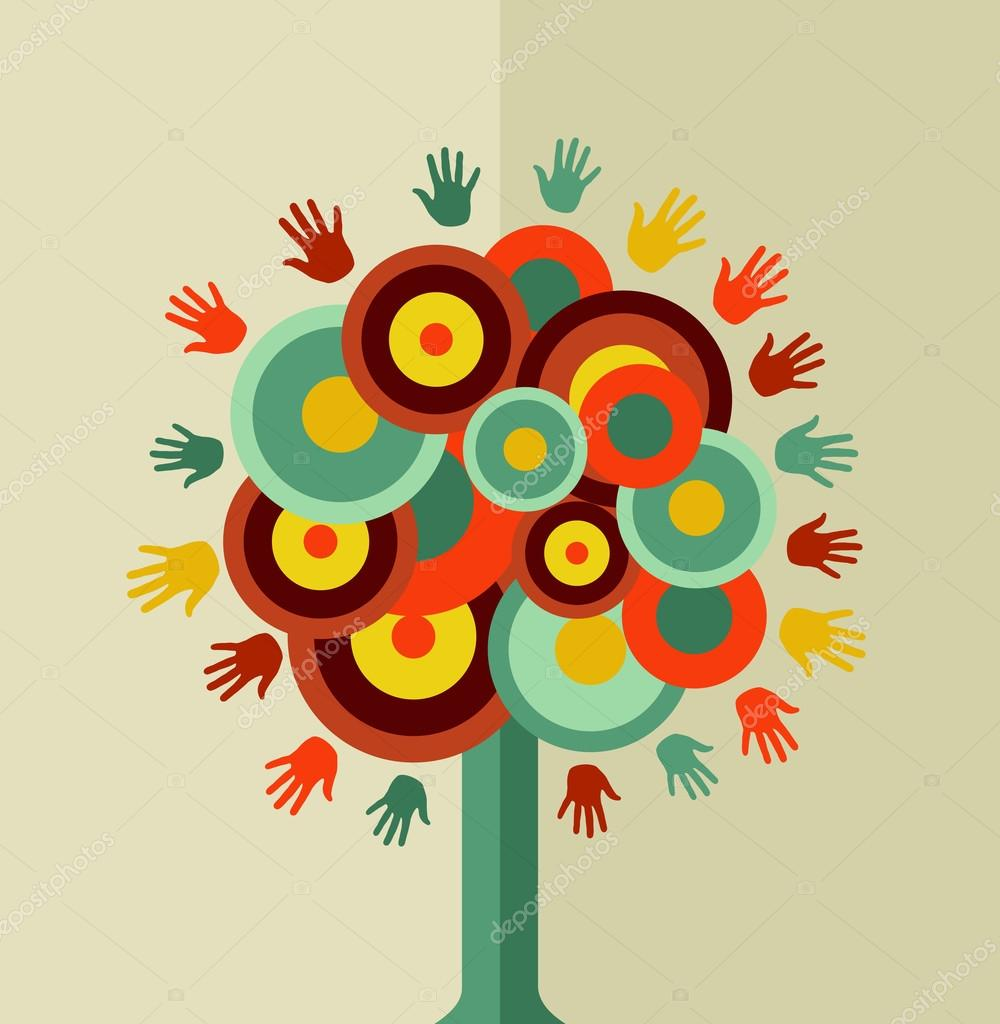 Colorful vintage hand tree circle
