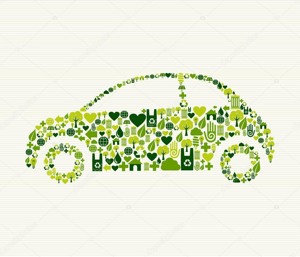 Green car with icons