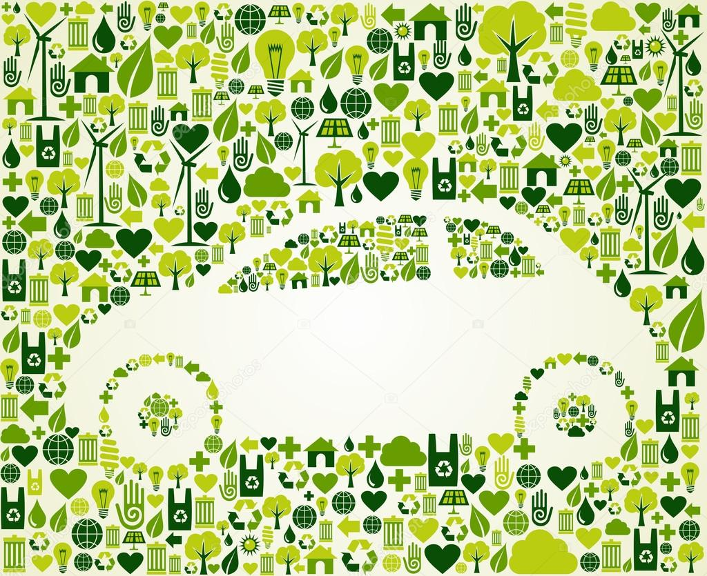Green car with eco icons set