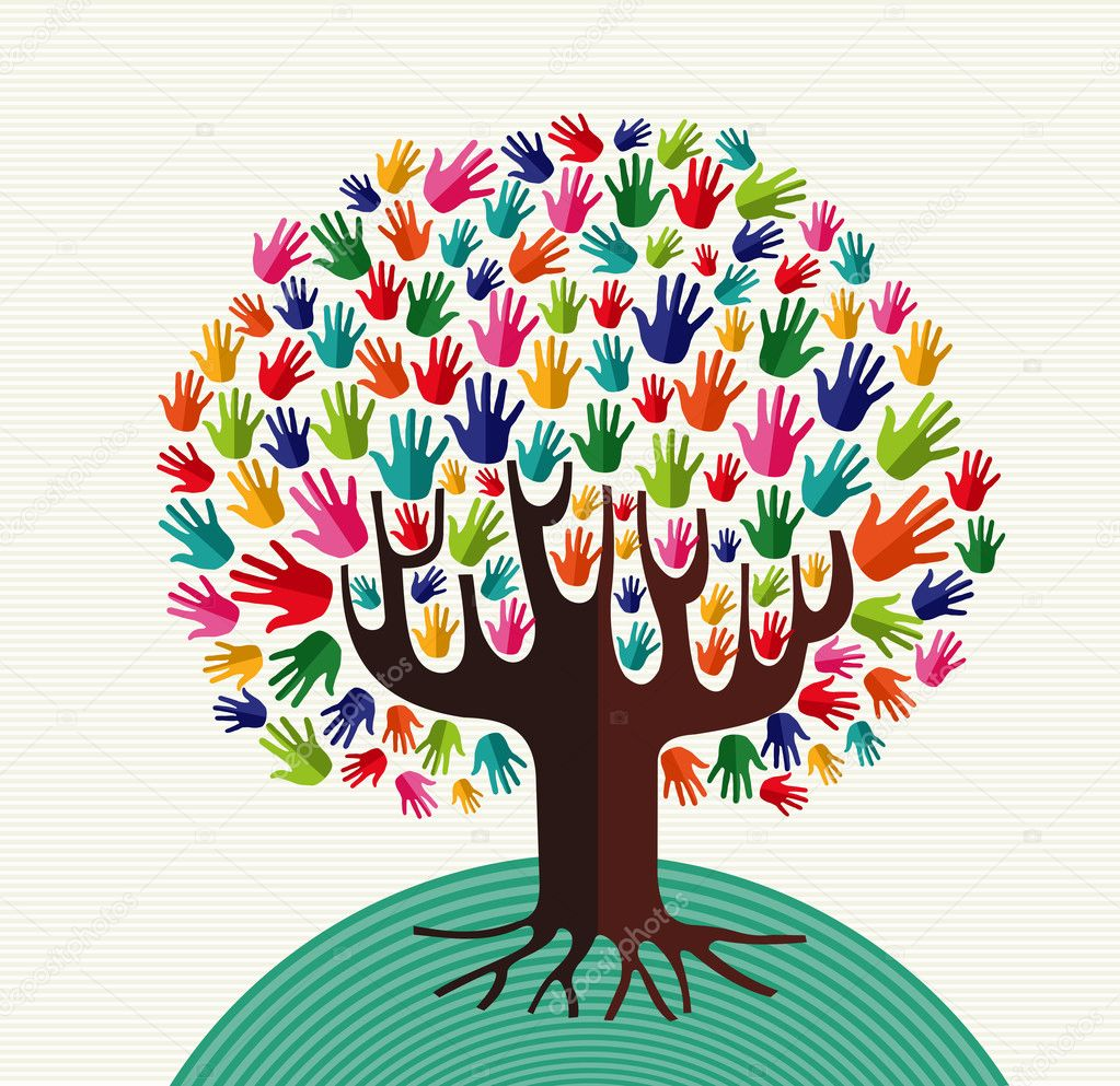 Colorful solidarity tree hands