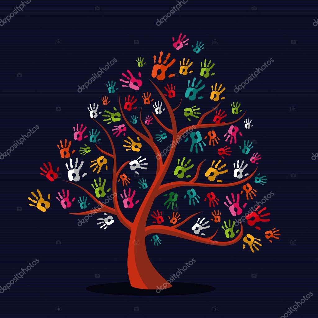 Colorful multi-ethnic hand prints tree